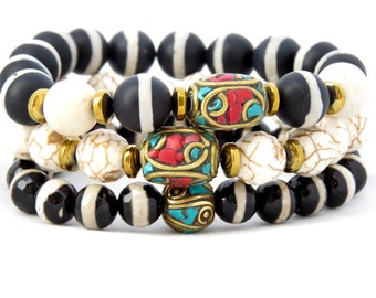 Bohemian, Boho Chic Beaded Stacked Bracelets Set of 3 Expressions Bracelets Gifts for Her Mothers Day