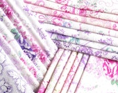 vintage fabric bundle lilac floral fabric violet floral fabric french dutch german fabric  20 pieces shabby fabric 61