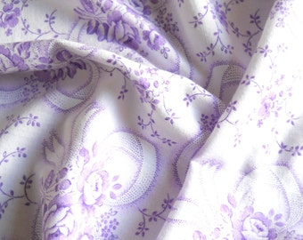 vintage floral fabric french vintage fabric  antique floral fabric lilac fabric cotton fabric 157