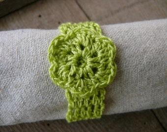 Crochet napkin rings, Set of 4, 6, 8, 12 green napkin rings, rustic wedding table decor, Shabby Chic, Home Decoration, cotton napkin rings