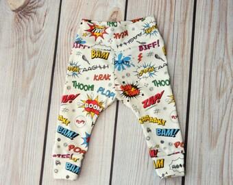 Premium Organic Cotton Infant/Toddler Comic words Leggings Sizes Preemie-4T