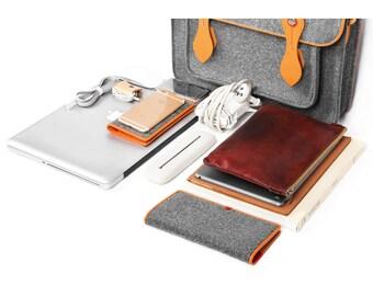 Macbook Satchel Backpack Felt Handbag Office Bag Wool Felt Briefcase with Genuine Leather Handle for Makbook Air 13''