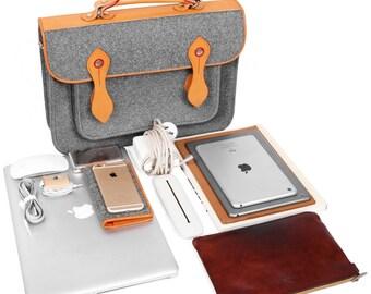 Shoulder Bag Macbook Case Backpack Wool Felt Laptop Bag with Genuine Leather Handle for Macbook Pro 13''