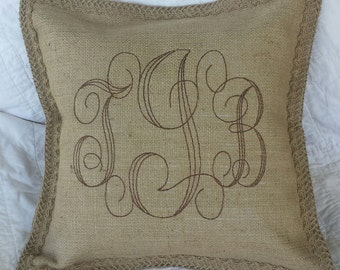 Custom Burlap Monogram Pillow - you chose the colors