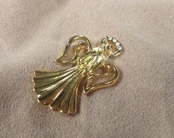 Vintage Goldtone Angel with White Gemstones Pin/Brooch, 2'' Long, 1 1/4'' Wide