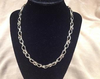 Vintage Goldtone Design Link Necklace , 18'' Long