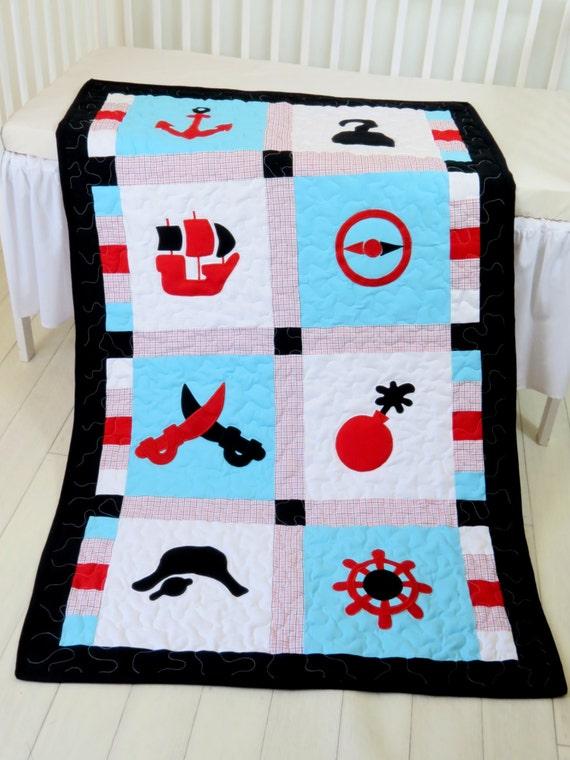 Pirate Blanket, Patchwork Quilt Blanket,Toddler Quilt Blanket, Black Red Aqua White Colors