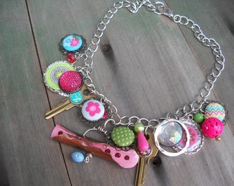 Happy Days Statement Necklace/Charm Necklace/Boho/Hippie/Mixed Metal