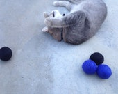 Solid Wool Cat Toys (Set of 4 - bright blue and black) Hand-felted colorful wool, cat nip oil scented for FREE if you choose!