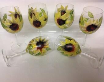 Wedding, Brides maid, anniversary Wine Glass Sun Flower
