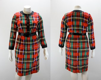 XL Vintage Dress Red Green and Purple Plaid