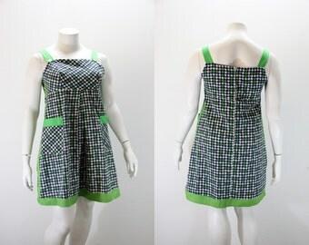 LG - XL Vintage Dress - Summer Houndstooth Dress