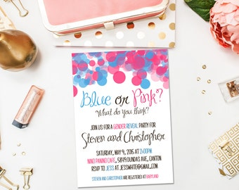 Baby Shower Invitations / Gender Reveal Neutral Bokeh / Blue or Pink What Do You Think / Digital or Printed Cards / Shower Invite Girl Boy