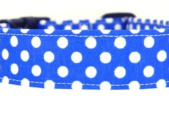 Royal Blue Polka Dot Dog Collar/ Blue and White Dog Collar: Royal Dots