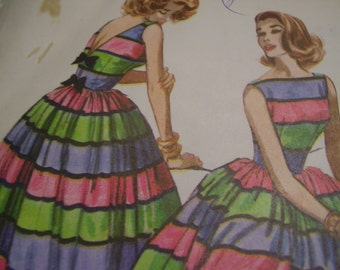 Vintage 1950's McCall's 4431 Dress Sewing Pattern, Size 14, Bust 34 or Size 10, Bust 31
