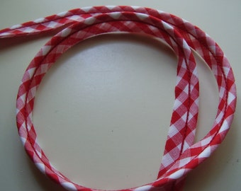 Vintage Red Gingham  Piping Fabric Trim