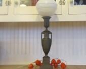 1920's Art DecoTall Brass Urn Lamp, 1920's, Lamp, Art Deco, Brass, Cast Metal, Tall, Table Lamp, Urn, Glass Globe