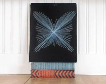 1970's String Art Butterfly, Butterfly, String Art, Black Velvet, Velvet, 1970's, Wall Hanging, Wall Decor, Display, Art, Mod, Blue
