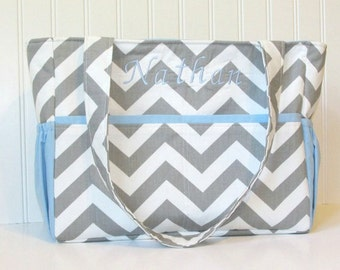 Monogrammed Chevron Diaper Bag in Gray with Blue Lining Accent or Choose Your Own 12 Pockets Zipper Closure