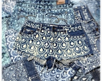Mermaid Scale hand bleached denim shorts and skirts