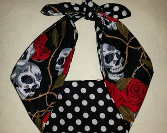 polka dot skull rose bandana, black, rockabilly pin up psychobilly tattoo hairband headband