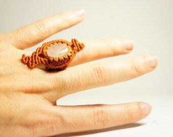 micromacramé ring · macrame ring · sensitive skin ring · pink quartz ring · pumpkin ring · assymetric ring·macramé jewelry · macrame ring