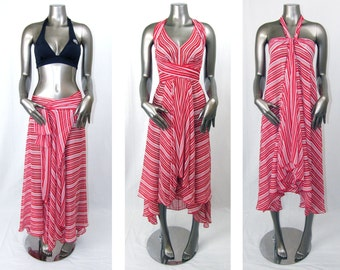 Red & White Convertible Dress/Skirt or Swimsuit Cover Up