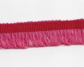 "French Grosgrain with LOOPED FRINGE 16MM (approx. 5/8"") trim--Red/Coral--price is per yard"