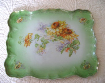 antique green ceramic biqsue tray scalloped rectangle with flowers rose lilac daisy