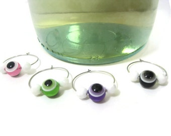 Evil Eye Beaded Wine Glass Charms, Wine Glass Charms, Wine Accessories, Pink Green Purple Black Charm