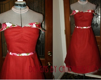SAMPLE 1950s Insp Cranberry & Floral RTS Linen winged petal bust Flared skirt Bridal Wedding evening Bridesmaid Dress  Small