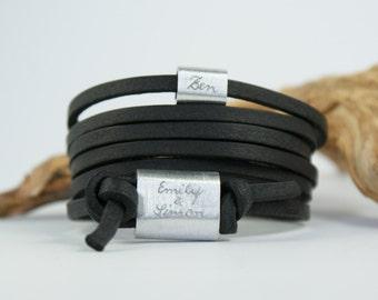 FOREVER - Personalisiertes Armband mit Gravur, Wickelarmband, Lederarmband mit Gravur, Vatertag,  Geschenk Vatertag, Männerarmband