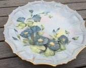 Beautiful Hand Painted Plate- Blue Morning Glory Flowers - Hand Painted Porcelain Plate - Scalloped/Fluted Edge - Gold Gilding - COSOFG
