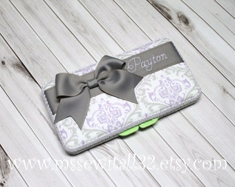 Custom Lavender and Gray Damask Diaper Wipes Case