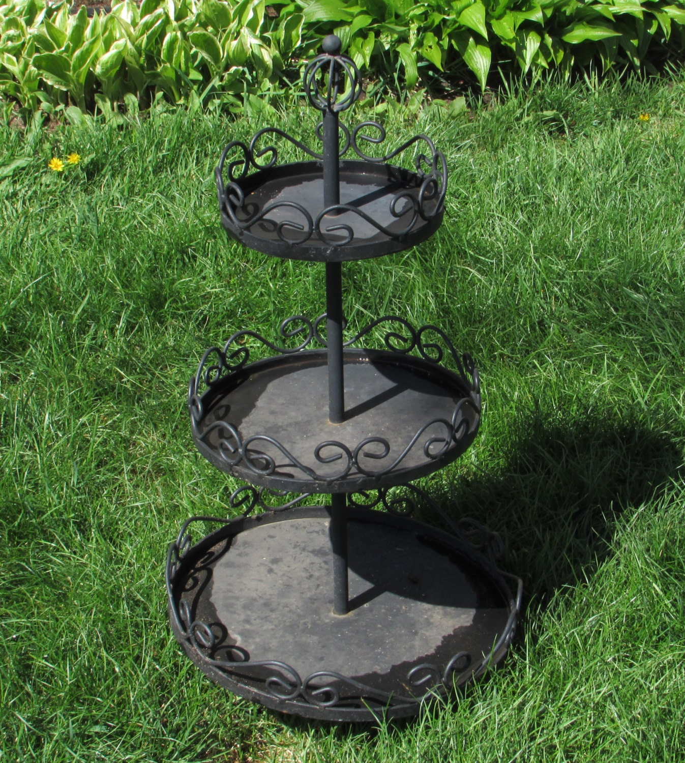 Three Tiered Black Metal Plant Stand