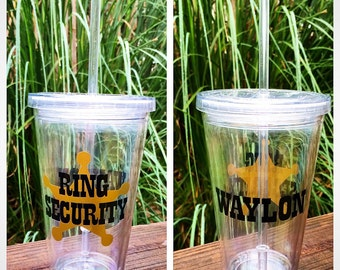 "Personalized Ring Bearer Gift - Straw Tumbler ""Ring Security"""