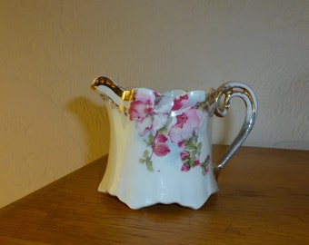Vintage Porcelain Creamer with Pink Floral Design with Gold Accents