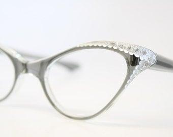 Cat Eyeglasses Gray rhinestone vintage Eyewear Retro Glasses Catseye glasses vintage frames