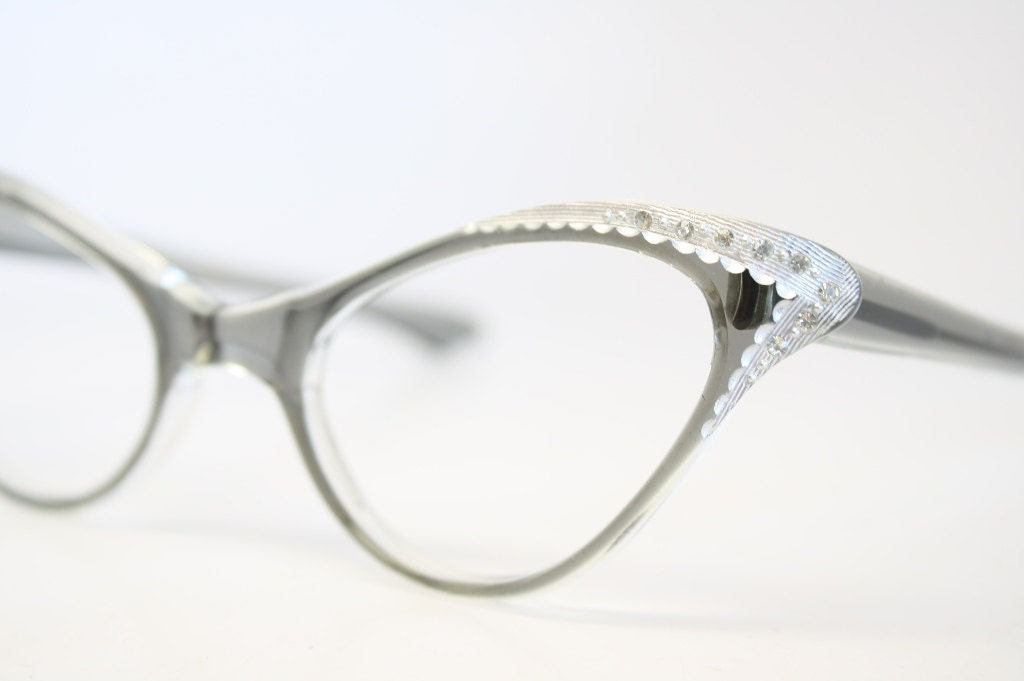 Cat Eyeglasses Gray rhinestone vintage Eyewear Retro Glasses