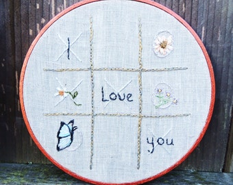 Embroidery designs XOXO  flower embroidery art X's and O's with I love You