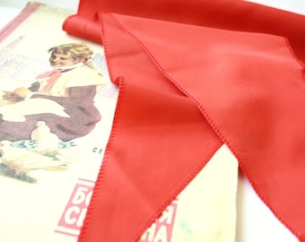 Vintage pioneer neckerchief, soviet union ussr red