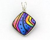 Multicolored Fused Dichroic Glass Pendant, Sterling Silver Wire Wrapped