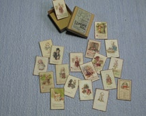 Gaël Miniature vintage kewpie cards box  Dollhouse Miniature child game Accessory toy, Handmade