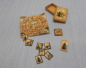 Gaël Miniature Vintage game  Round the World with Nellie Bly McLoughlin Brothers 1:12 Scale Dollhouse Miniature accesories