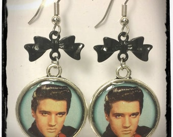 Elvis Earrings with Silver or Black Bow