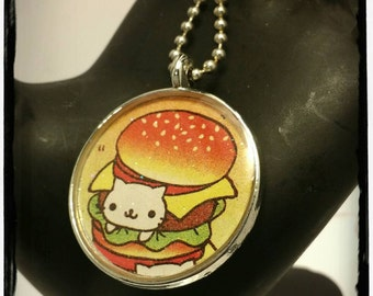Nyan Nyan Nyanko Burger Pendant Necklace- Black or Silver