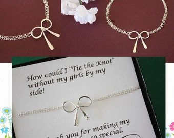 5 Bridesmaid Tie the Knot Bracelets, Set of 5, Bridesmaid Gifts, Silver Bow, Silver Knot, Thank you card, Bow Bracelet, Charm Bracelet