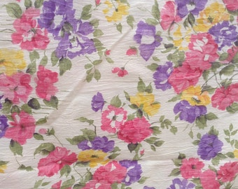 Spring sewing project with crinkle cotton in pink, purple, yellow floral