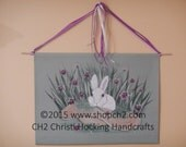 Handpainted Bunny Wall Hanging, Easter Bunny, Bunny Rabbit Painting