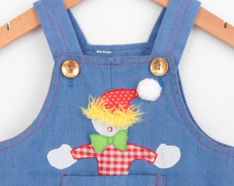 Vintage Denim Baby Shortalls / Romper with Clown Appliqué  9 months